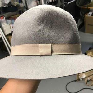 Grey fedora style hat
